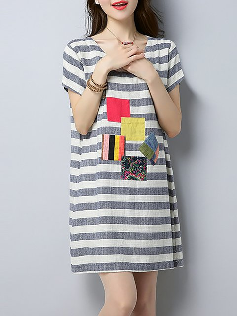 Apricot A-line Women Daily Short Sleeve Linen Casual Patch Striped Casual Dress