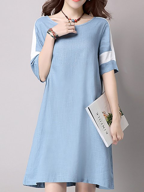 Sky Blue A-line Women Daily Linen Casual Short Sleeve Plain Casual Dress