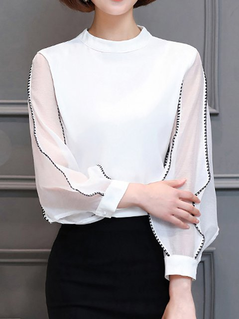Long Sleeve Paneled Chiffon T-Shirt