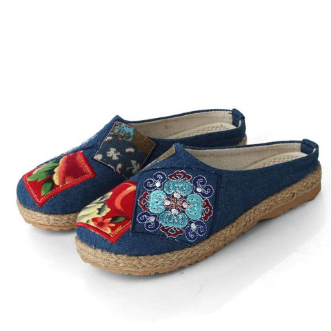 Embroidery Backless Casual Flat Shoes
