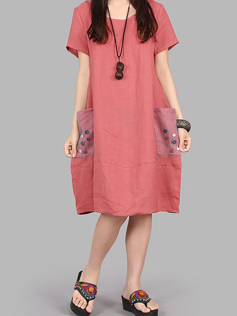 Women Daily Short Sleeve Pockets Plain Casual Dress