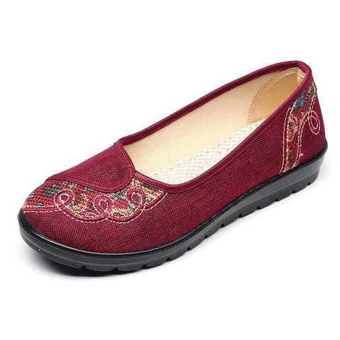 Linen Slip On Daily Embroidery Flats