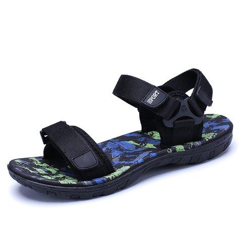 Mens Flat Heel Casual Magic Tape Summer Satin Sandals