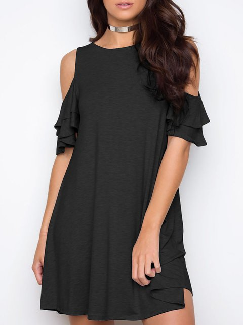 Cold Shoulder Black A-line Women Daily Short Sleeve Sexy  Solid Summer Dress
