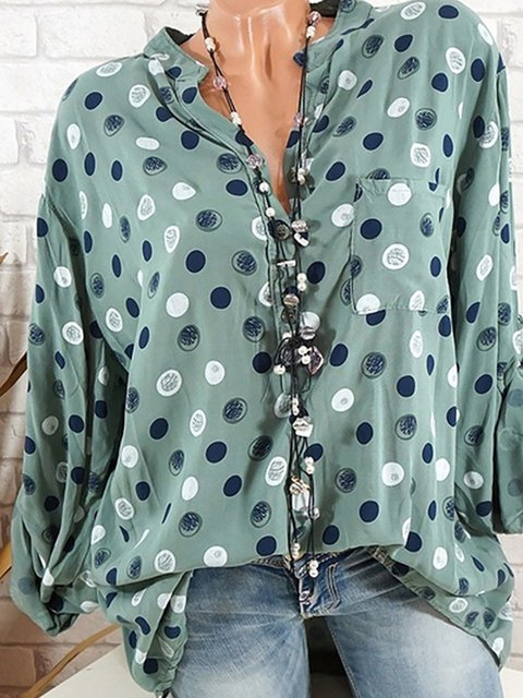 Paneled Polka Dots Casual Shirts