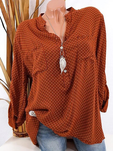V Neck Polka Dots Pockets Long Sleeve Shirts
