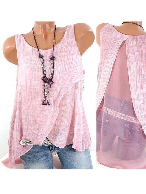 Paneled Sleeveless Casual Chiffon Shirts