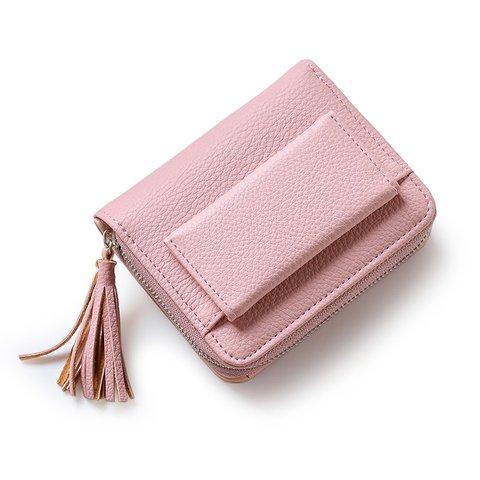 Women PU Leather Tassel Short Wallet Card Holder Purse