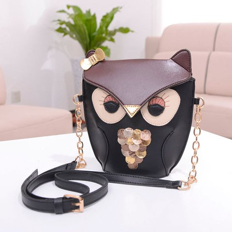 Cartoon Cute Owl Pattern Shape PU Leather Small Crossbody Bag For Women