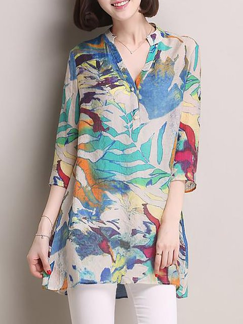 V Neck Casual Floral Blouse Linen xqASwCnTY
