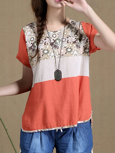 Linen Short Sleeve Casual T-Shirt