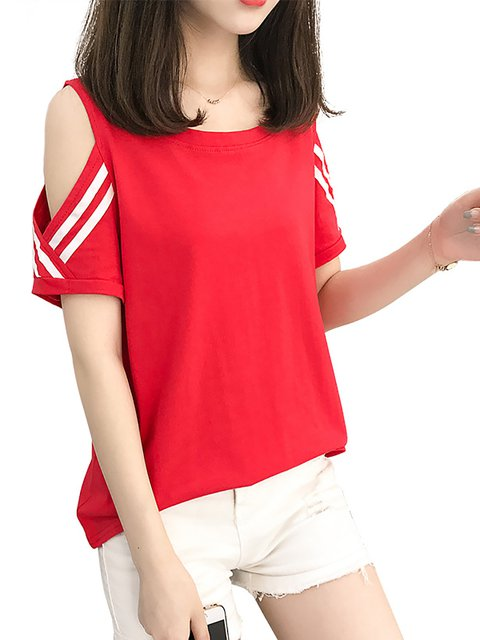 Polyester Cold Shoulder Casual T-Shirt