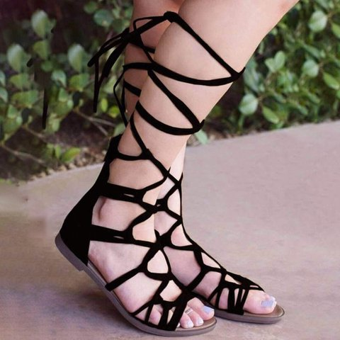 Stylish Lace-up Flat Gladiator Sandals