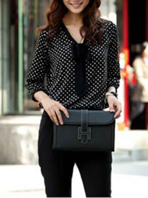 Long Sleeve Polka Dots Casual Blouse