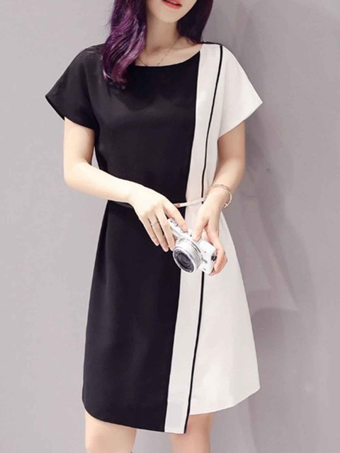 Black A-line Women Daily Short Sleeve Paneled Solid Elegant Dress