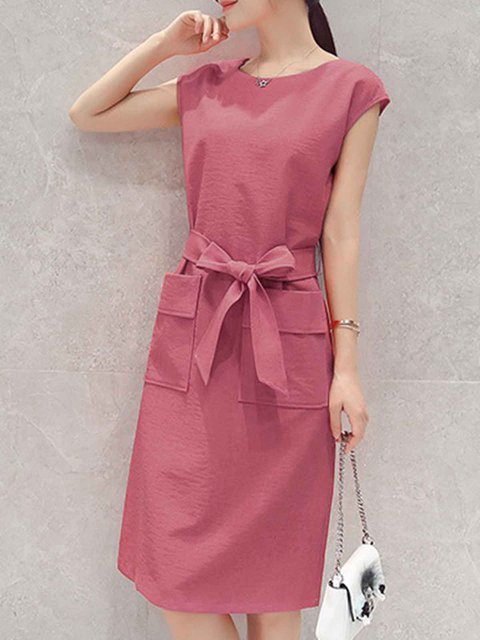 A-line Women Daily Short Sleeve Statement Pockets Casual Dress