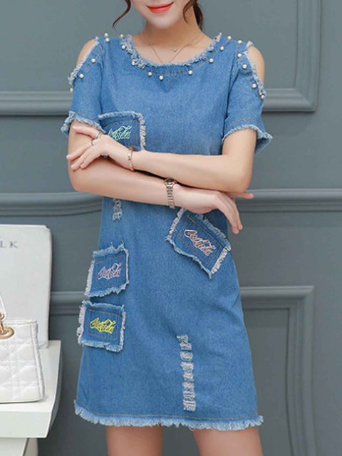 Blue Women Daily Denim Short Sleeve Sexy Patch Solid Casual Dress