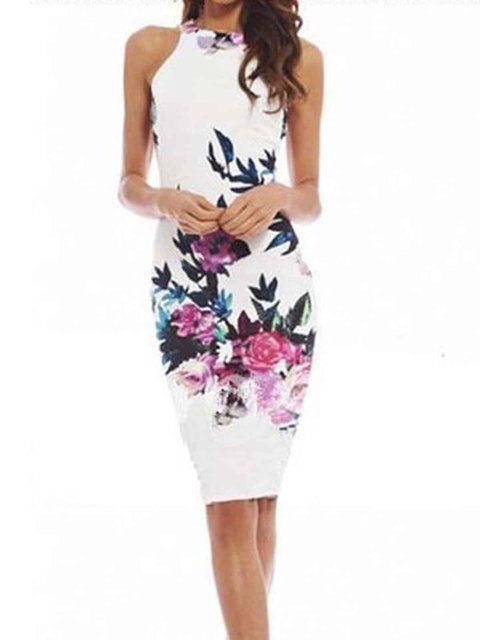 Halter White Sheath Women Daily Sleeveless Printed Floral Prom Dress