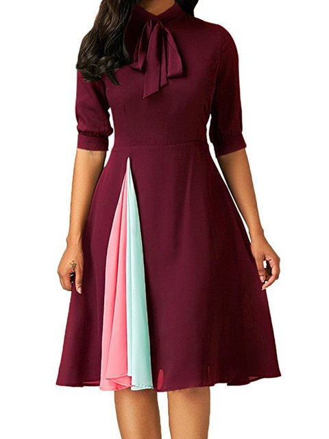 Turtleneck  Swing Women Daily Half Sleeve Basic Bow Solid Summer Dress