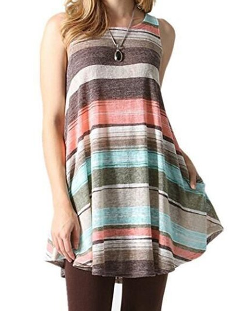 Casual Stripes Sleeveless T-Shirt
