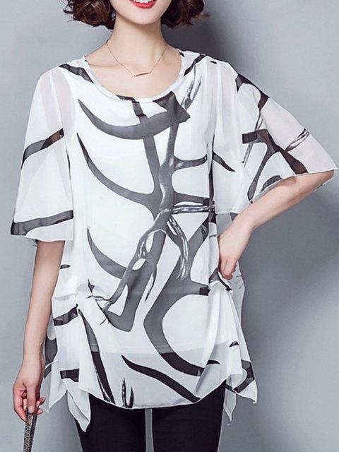 Chiffon Printes Paneled Maxi SIze T-Shirt