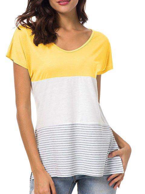 Short Sleeve Crew Neck Paneled Polyester T-Shirt