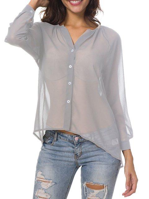 Casual Long Sleeve Chiffon Shirt