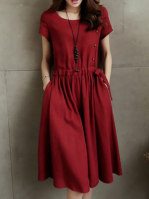 A-line Women Daily Short Sleeve Buttoned Solid Casual Dress