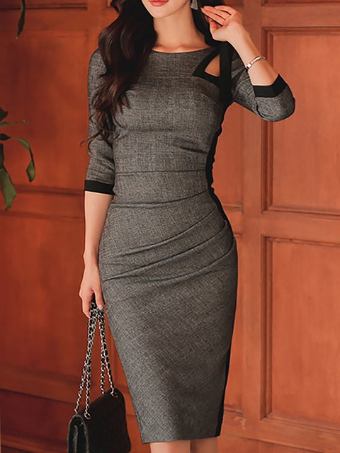 Gray Bodycon Women Daily Basic Cotton Solid Elegant Dress