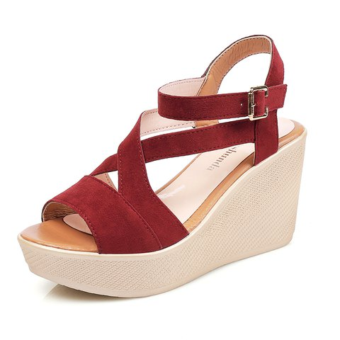 Adjustable Buckle Wedge Heel Sandals