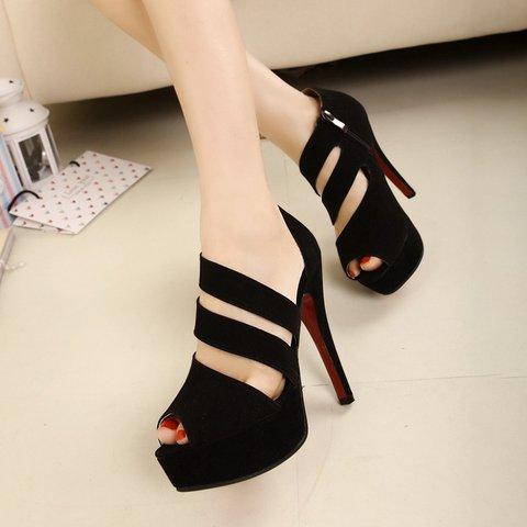 Hollow-out Flocking Party Evening High Heel Pumps