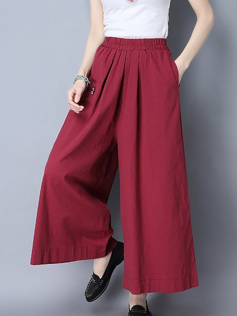 Spandex Casual Solid Pants