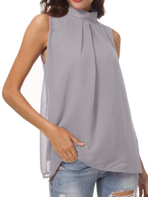 Sleeveless Chiffon Solid Casual Stand Collar Blouse