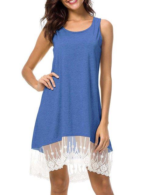 Women Daily Basic Sleeveless Paneled Solid Summer Dress