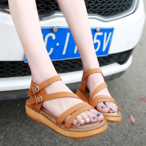 Leather Adjustable Buckle Flat Heel Sandals