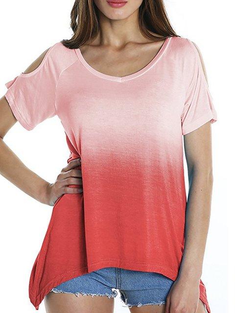 Short Sleeve Ombre/Tie-Dye Crew Neck Casual T-Shirt