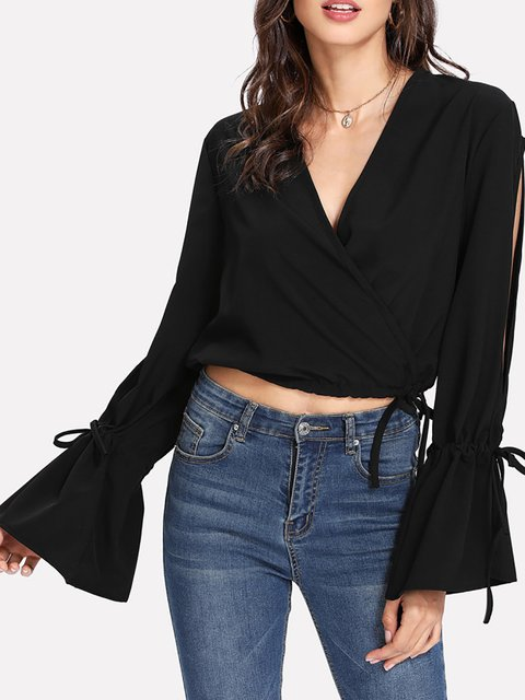 Bell Sleeve Casual V Neck Slit Polyester Blouse