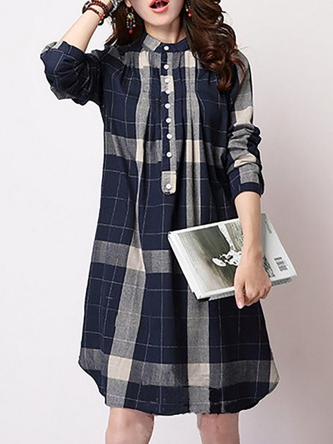 Stand Collar  A-line Women Long Sleeve Buttoned Checkered/Plaid Casual Dress