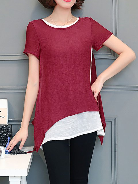 Paneled Short Sleeve Chiffon T-Shirt