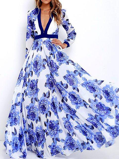 Plunging neck Blue Swing Women Beach Long Sleeve Elegant Paneled Floral Floral Dress