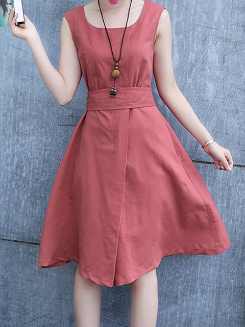 Swing Women Daily Elegant Sleeveless Bow  Casual Dress