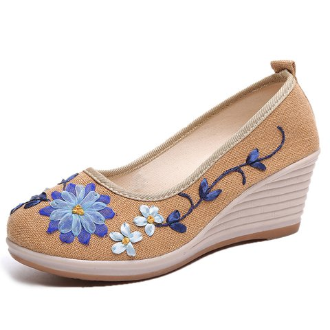 Linen Floral Embroidered Wedge Heel Daily Sandals
