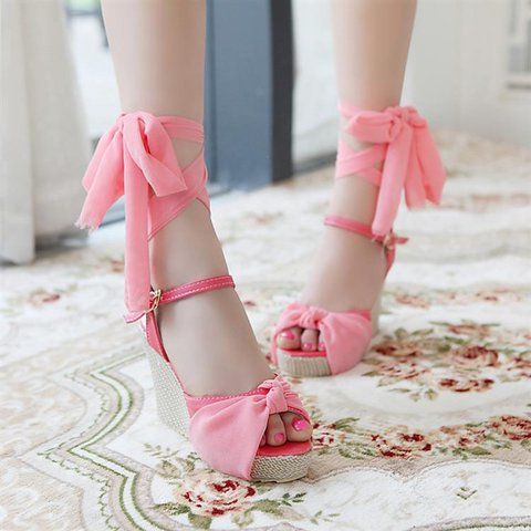 Large Size Bownot Lace-up Wedge Sandals