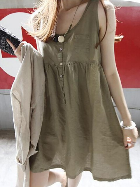 Swing Women Going out Elegant Linen Sleeveless Paneled  Casual Dress
