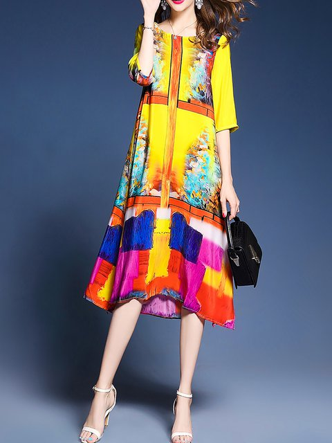 Justfashionnow Yellow Women Print Dress Sheath Daily Dress