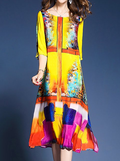 Yellow Sheath Women Half Sleeve Elegant Paneled Abstract Elegant Dress