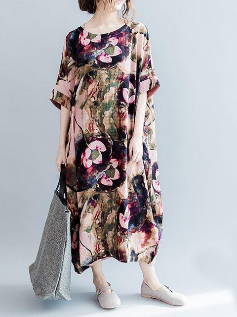Shift Women Short Sleeve Elegant Paneled Floral Casual Dress