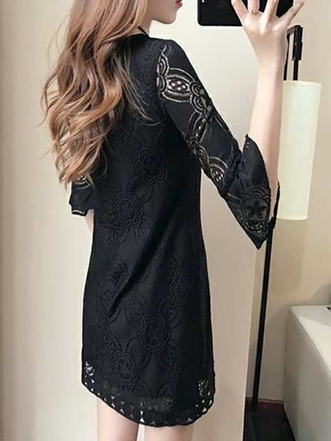 out Dress Lace Elegant Women Sleeve Elegant Going Shift Short qCH8wx