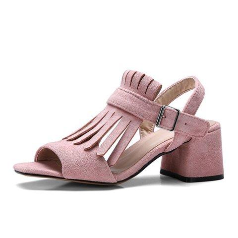 Flocking Tassel Casual Chunky Heel Sandals