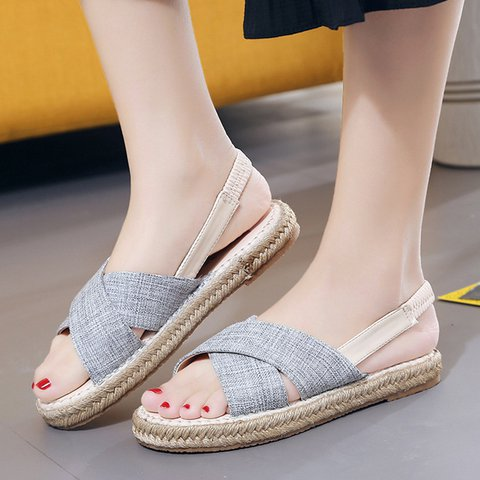 Casual Fabric Flat Heel Peep Toe Sandals